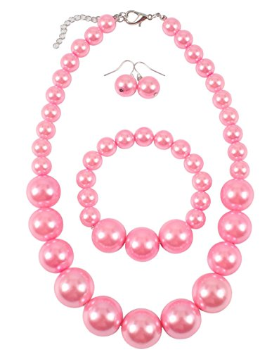 Shineland Simple Large Big Simulated Pearl Statement Necklace Bracelet and Earrings Jewelry Set (Pink) (Necklace Bracelet Pearl Real Pink)