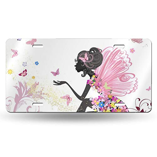 (Szipry License Plate - Flower Fairy Girl Butterflies, Customized Novelty Auto License Plate, Aluminum Front License Plate - 6