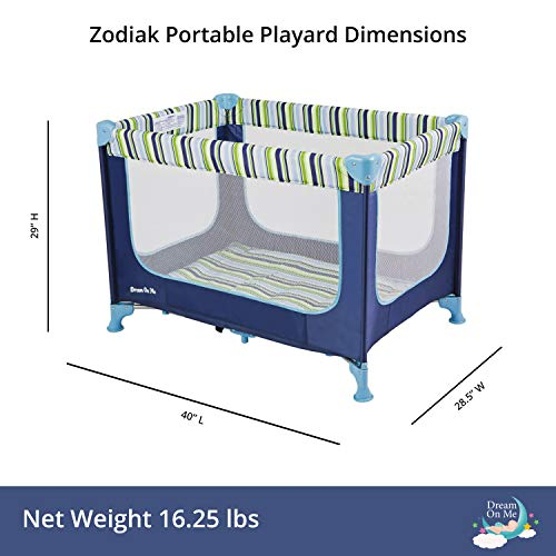 41KQDEU7kvL - Dream On Me, Zodiak Portable Playard, Navy