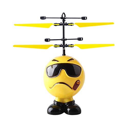 MeterMall Toys for Boys, Funny Emoji Aircraft Toy Smart Intelligent Action Figure Flying Mini RC Infrared Induction Robot Flashing Light Toys Kid Gifts Sunglasses (Best Sunglasses For Rc Flying)