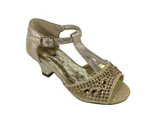 jf16-10 Little Girl Classic Rhinestone Sparkle Low Rhinestone Flower Heel Sandal Shoes (12, Gold)