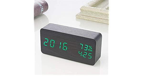 Amazon.com: Sound Control LED Alarm Clocks Wooden Despertador Temperature Display Alarm Clock Electronic Desk Clock Digital Wood Table Clock: Home Audio & ...