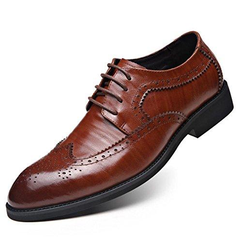 Herrenschuhe Brogue Britischen Stil Derbys Casual Gummi Lace-up Business Leder Gefüttert Formales Kleid Schwarz Größe 39 Bis 47 brown
