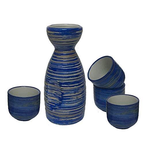 KCHAIN Ceramic Sake Set 1 Piece Sake Bottle 7oz and 4 Piece Sake Cups 1.7oz Sky Blue and Pure White Color