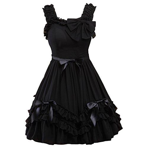 Schwarz Love Schwarzes Kleider Lolita Partiss Sweet Damen Passe Chiffon q85nxX4U