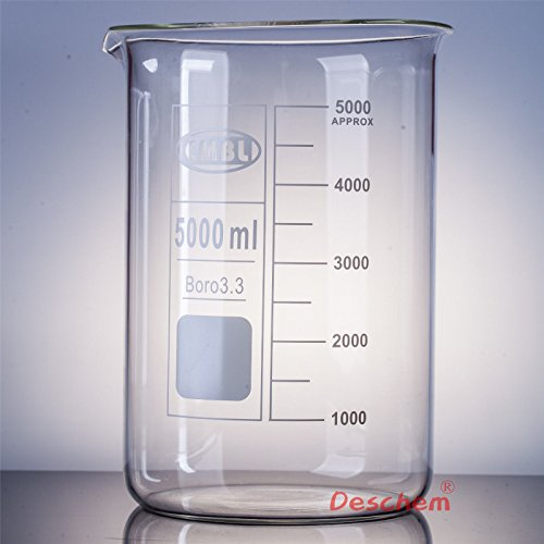 Deschem 5000mL Glass Beaker 5L Low Form Laboratory Borosilicate Glassware Beaker Low Form Glass