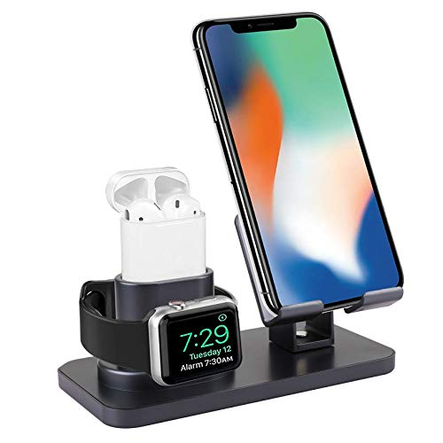 Smartelf 3 in 1 Charging Stand for Apple Watch Series 5/4/3/2/1,Charging Dock Station for AirPods 1/2,Phone Holder for iPhone 11/11 Pro/11 Pro Max/X/XS/XS Max/XR/8/8 Plus/7/7 Plus/6S/6S Plus-Grey