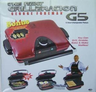 George Foreman GRP97R Next Grilleration G5 - Red - Removable-Plate Grill with 5 Removable Plates - Bonus Omelette Plates