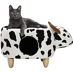 Critter Sitters 16″ Seat Height Animal (Black/White Cow) Shape Pet House Ottoman
