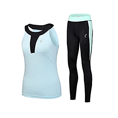 Shelcup 2 Pieces Tracksuits Set,Halter Neck Tank Top and Stretchy Pant for Yoga Gym Running,4 Colors Selection