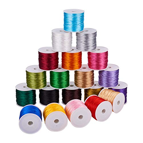 - PH PandaHall 20 Colors 640 Yards 1mm Rattail Satin Nylon Trim Cord for Necklace Bracelet Beading Kumihimo Chinese Knot