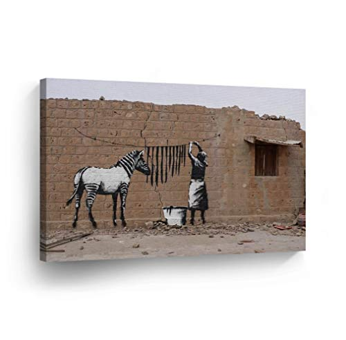 Smile Art Design Banksy Canvas Print Zebra Graffiti Timbuktu Mali Street Art Banksy Wall Art Modern Art Wall Decor Home Decor Stretched Ready to Hang-%100 Handmade in The USA- ()