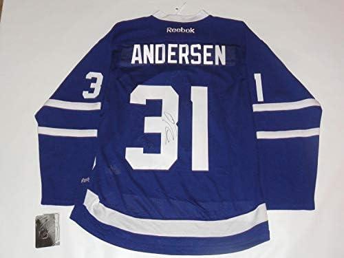 best service b92aa b16cf Frederik Andersen Autographed Signed Reebok Premier #31 ...