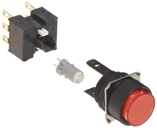 Omron A165L-TRM-24D-2 Projection Type Pushbutton and Switch, Solder Terminal, IP65 Oil-Resistant, 16mm Mounting Aperture, LED Lighted, Momentary Operation, Round, Red, 24 VDC Rated Voltage, Double Pole Double Throw Contacts