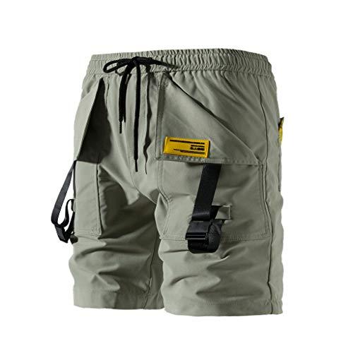 Men's Cotton Pants Simayixx Casual Classic Fit Shorts Big and Tall Drawstring Summer Beach Shorts with Pockets Army Green