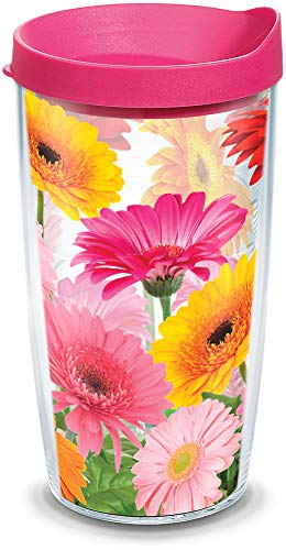 Tervis 1076394 Gerbera Daisies Tumbler with Wrap and Fuchsia Lid 16oz, Clear ()