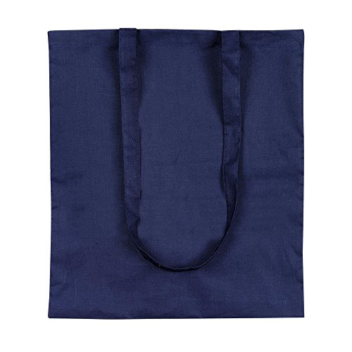 eBuyGB Shopping Tote Shoulder Bag, 100% Cotton, White Blue