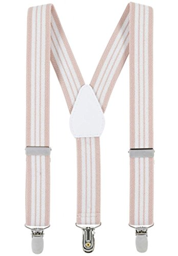 Suspenders for Kids - 1 Inch Suspender Perfect for Tuxedo - Beige and White Striped (30