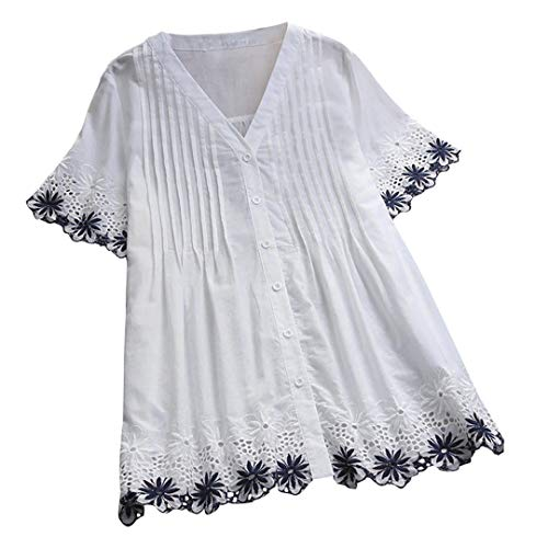 XVSSAA Ladies Embroidered Lace Short Sleeve Top, Women Plus Size Vintage V-Neck Lace Button Top T-Shirt Blouse White