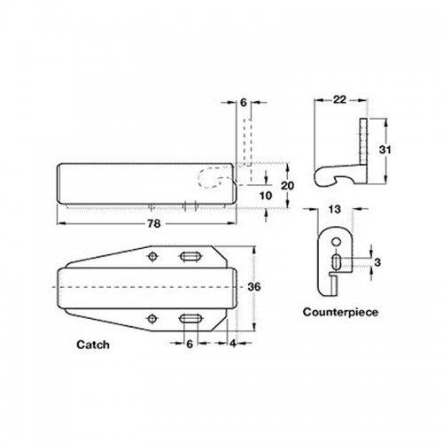 Loft porte Touch Latch en zinc fini plaqu/é