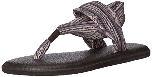 - Sanuk Women's Yoga Sling 2 Solid Vintage Flip-Flop, tan/Black geo Stripes, 11 M US