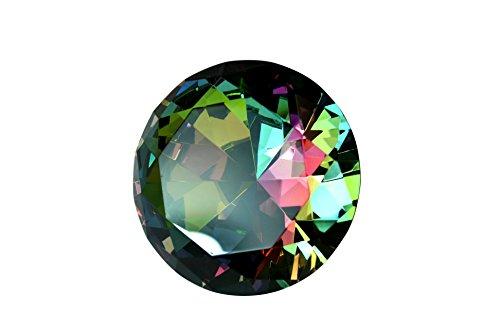 Tripact 80mm Original Aurora Borealis Diamond Dark Rainbow Crystal Paperweight 3.25 Inch -