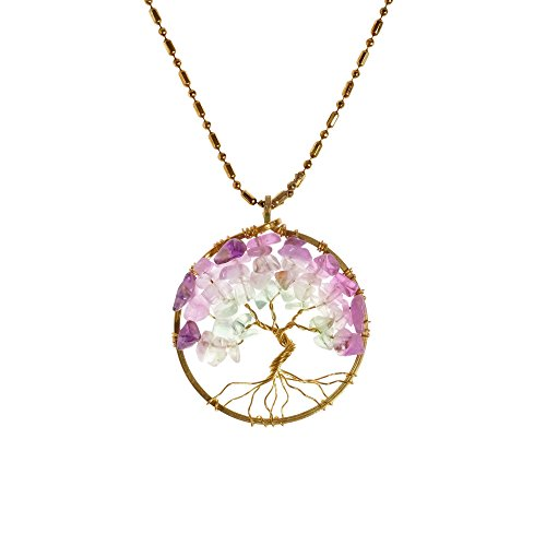Gorgeous Amethyst Pendant Chain (Charisma 30 mm Tree of Life Purple Green Fluorite and Brass Pendant Necklace )