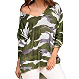 Kobay Women Top, Lady Camouflage T Shirt V-Neck Long Sleeves Loose Casual Blouse