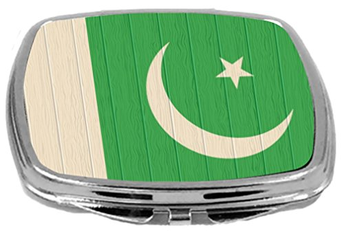 Rikki Knight Compact Mirror on Distressed Wood Design, Pakistan Flag, 3 Ounce by Rikki Knight