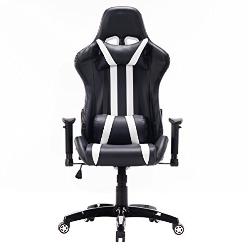 41KQGCACFoL - MD-Group-Gaming-Chair-High-Back-180-Recline-Adjustable-Seat-White-Racing-Style