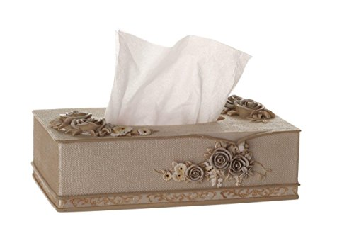 Sharel Rectangle Decorative Tissue Dispenser - Elegant Pearl Facial Tissue Box Cover with 3D Floral Design