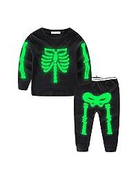 UWESPRING Boys Night Glow Skeleton Pyjamas Cotton Pajama Sets Outfits