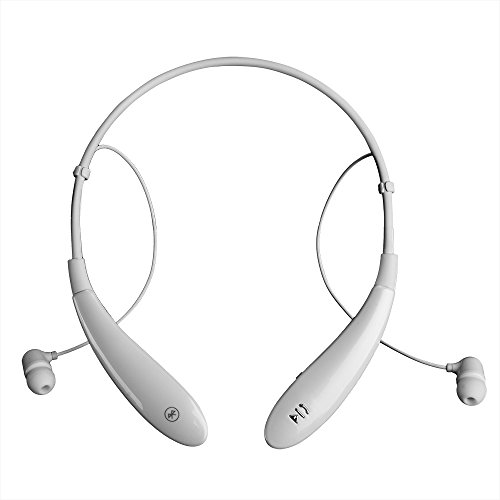 AGPtek HV-801 Wireless Bluetooth v4.0 Sport Stereo Music Neckband Headset Headphone Earbuds for iPhone 5/5S/6/6 Plus, iPad Mini/Air 2, Samsung Galaxy S3/S4/S5, Note 2/3/4, HTC Sony LG Android Cellphone (White)
