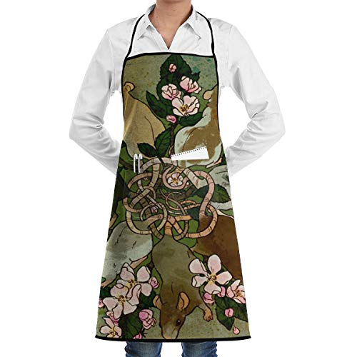 LALACO-Design Dark Spring Rat King Cooking Women Kicthen Bib Aprons with Pockets for Chef,Grandma Suitable for Baking,Grilling,Painting Even Fit for Arts,Holiday -
