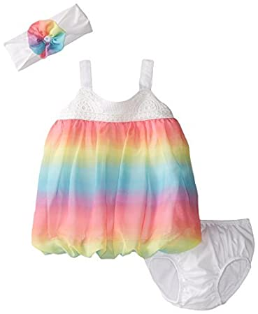 d16348e4828af The Children's Place Baby-Girls Newborn Rainbow Dress and Headwrap Set,  Funfetti Pink,