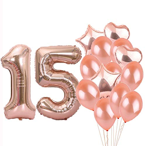 Sweet 15th Birthday Decorations Party Supplies,Rose Gold Number 15 Balloons,15th Foil Mylar Balloons Latex Balloon Decoration,Great 15th Birthday Gifts for Girls,Women,Men,Photo Props ()