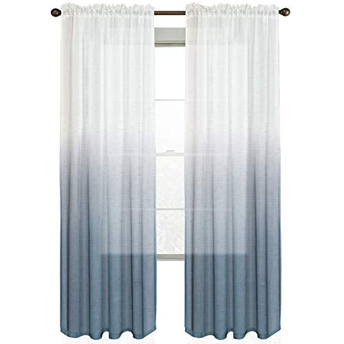 Linen Sheer Rod Pocket Curtain Panels Natural and Draped Window Draperies & Curtains Sheer Living Room Curtains for Bedroom, Bluestone Ombre Two Tone, 2 Panels