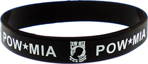 POW MIA Letters Silicone Rubber Wristband Bracelet [Adult - Black]