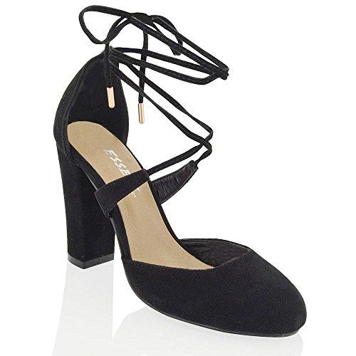 ESSEX GLAM Sintético Sandalias de salón con tacón cuadrado y tira al tobillo Negro Gamuza Sintética