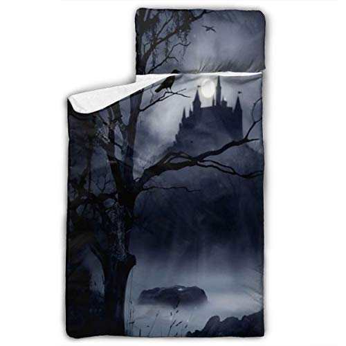 Child Nap Mat Gothic Dark Night Castle Crow Raven Bird Children Sleeping Bag Durable Kids Nap Mat Pad Washable Rolled Nap Mat Folding Travel Mat with Carry Handle 5020 Inch (Sleeping Bag Ravens)