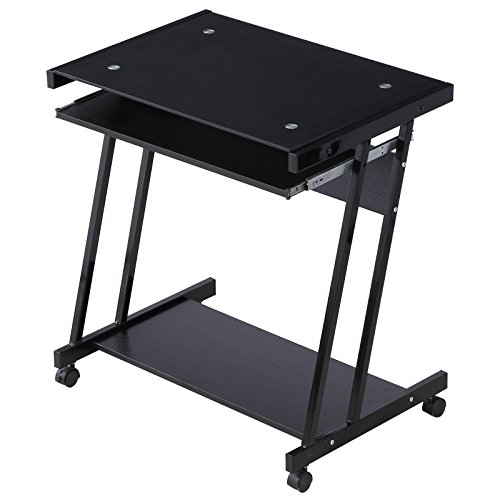 Cypressshop Computer Desk Rolling Movable PC Laptop Notebook Table 4 Wheels Workstation with Slide Keyboard and Case Power Stand Home Furniture Office -