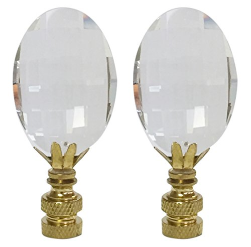 Royal Designs CCF2003-PB-2 Oval Radiance Cut Clear K9 Crystal Finial for Lamp Shade with Polished Brass Base, Set of 2, 2 Piece (Glass Finials)