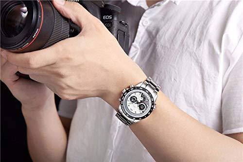 N·XHXL Herrklockor, mode vattentät sport kvarts armbandsur lysande klocka för affärer vardag, vit urtavla rostfritt stålband, fantastiska presenter till honom