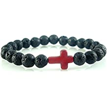 Natural Black Lava Stone Beads with Red Cross Charm Christian Religious Handmade Stretch Bracelet 7''