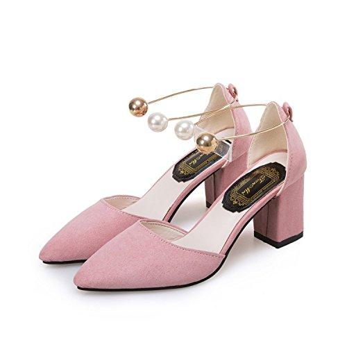 Grueso talón zapatos de tacón alto con zapatos de piel con un par de zapatos de tacón alto Forty-one