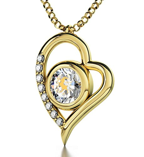 Gold Plated Zodiac Heart Pendant Capricorn Necklace 24k Gold inscribed on Clear Crystal, 18'' by Nano Jewelry