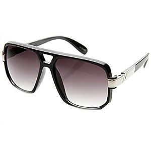 zeroUV - Classic Square Frame Plastic Flat Top Aviator Sunglasses (Black Silver)