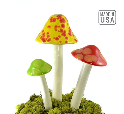 Mushroom Ceramic Garden Stakes - 3 Handmade Outdoor Ornament Decor - Made In USA - Toadstools for Lawns, Planters, Gardens, Yards. Colors: Yellow, Red, Light Green (Foliage Fairy Green)