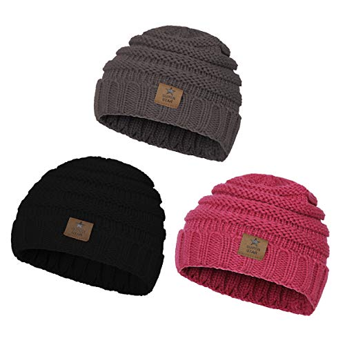 82724cf8f91 Baby Hats   Caps Winter Kids Cable Knit Cozy Warm Cute Infant ...