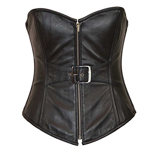 (Women's Real Lamb Leather Front Zipper with Buckle Sexy LINGERINE Corset Bustier(L))
